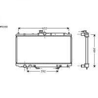 Radiateur, refroidissement du moteur 402 x 665 x 16 de 05 à >> - OEM : MR299523