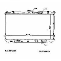 Radiateur, refroidissement du moteur 670 x 430 de 02 à 06 - OEM : OK2KB15200