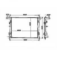 Radiateur, refroidissement du moteur 600 x 455 de 06 à >> - OEM : 253102R000