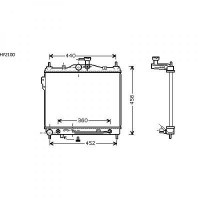 Radiateur, refroidissement du moteur 373 x 495 de 02 à >> - OEM : 253101C150