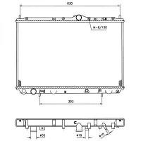 Radiateur, refroidissement du moteur 675 x 400 x 17 de 95 à 99