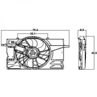 Ventilateur refroidissement du moteur Complément : avec cadre du ventilateur de radiateur (encadrement) de 04 à 10 - OEM : 31261989